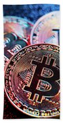 Three Bitcoin Coins In A Colorful Lighting. Bath Towel