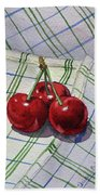 Three Sweet Cherries By Irina Sztukowski Bath Towel
