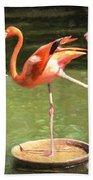 Three Flamingos Bath Towel