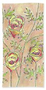 Three Flowers Bath Towel