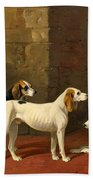 Three Fox Hounds In A Paved Kennel Yard Bath Towel