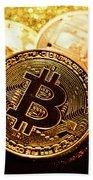 Three Golden Bitcoin Coins On Black Background. Bath Towel