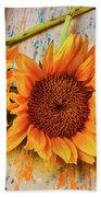 Three Graphic Sunflowers Bath Towel