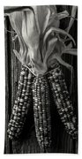 Three Indian Corn In Black And White Bath Towel