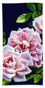 Three Pink Roses With Leaves Bath Towel