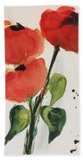 Three Poppies Bath Towel