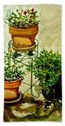 Three Potted Plants Bath Towel