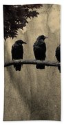 Three Ravens Branch Out Bath Towel