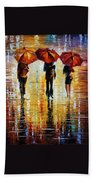 Three Red Umbrellas Bath Towel