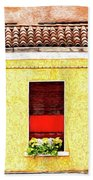Three Red Windows With Flowers Of A Typically Italian House. Bath Towel