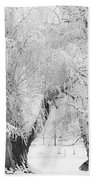 Three Snow Frosted Trees In Black And White Bath Towel