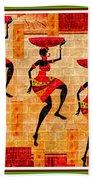 Three Tribal Dancers L B With Alt. Decorative Ornate Printed Frame. Bath Towel