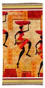 Three Tribal Dancers L B With Decorative Ornate Printed Frame Bath Towel
