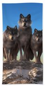 Three Wolves Watching You Bath Towel