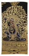 Tibetan Thangka - Vajrapani - Protector And Guide Of Gautama Buddha Bath Towel