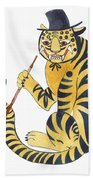 Tiger With Pipe Bath Towel
