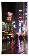 Times Square In The Rain 1 Bath Towel