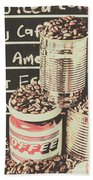 Tin Signs And Coffee Shops Bath Towel