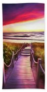 To The Beach Early Morning Watercolor Painting Bath Towel