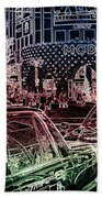 Neon Tokyo Taxis, Japan Hand Towel by Perry Rodriguez