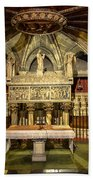Tomb Of Saint Eulalia In The Crypt Of Barcelona Cathedral Bath Towel