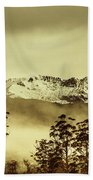 Toned View Of A Snowy Mount Gell, Tasmania Bath Towel