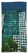 Toronto Metro Hall Reflected In The Cbc Building Bath Towel