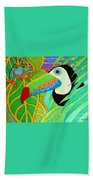 Toucan And Red Eyed Tree Frog Bath Towel