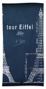 Tour Eiffel Engineering Blueprint Bath Towel