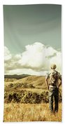 Tourist With Backpack Looking Afar On Mountains Bath Towel