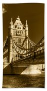 Tower Bridge In Sepia Bath Towel