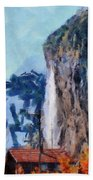 Towering Cliffs And Houses Bath Towel