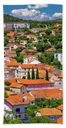 Town Of Drnis And Dalmatian Inland Panorama Bath Towel