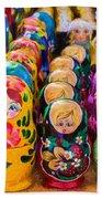 Traditional Russian Matrushka Nesting Puzzle Dolls Bath Towel