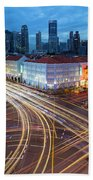 Traffic Light Trails In Singapore Chinatown Hand Towel