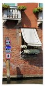 Traffic Signs On The Canal In Venice Italy Hand Towel