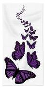 Trail Of The Purple Butterflies Transparent Background Bath Towel