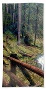 Trail Over Sol Duc Falls Bridge In Olympic National Park Bath Towel