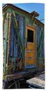 Trains Wooden Box Car Yellow Door Bath Towel