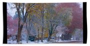 Transitions Autumn To Winter Snow Poster Bath Towel