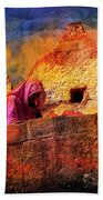 Travel Exotic Woman On Ramparts Mehrangarh Fort India Rajasthan 1h Bath Towel