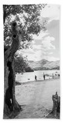 Tree And People By The Lake Bath Towel