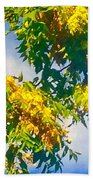 Tree Branch With Leaves In Blue Sky Bath Towel