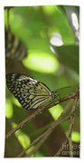 Tree Nymph Butterfly Sitting On A Tree Branch Bath Towel