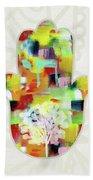 Tree Of Life Hamsa- Art By Linda Woods Bath Towel