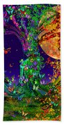 Tree Of Life With Owl And Dragon Bath Towel