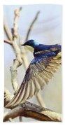 Tree Swallow In Flight Bath Towel