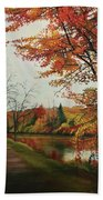 Trees Along The Canal Hand Towel