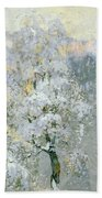 Trees In Wintry Silver Hand Towel