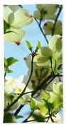 Trees White Dogwood Flowers 9 Blue Sky Landscape Art Prints Bath Towel